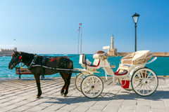 Chania. Horse-drawn carriage. Stock Photo