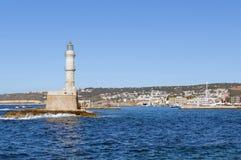 Chania latarnia morska, Crete wyspa, Grecja obraz royalty free