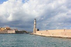 Chania-Leuchtturm am Hafen Kreta, Griechenland Stockfoto