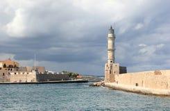 Chania-Leuchtturm am Hafen Kreta, Griechenland Stockbilder
