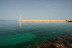 Chania Lighthouse. The Venetian Lighthouse, Chania, Crete, Greece Royalty Free Stock Photo