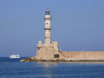 Chania lighthouse. Sea lighthouse in Crete, Greece Royalty Free Stock Photography