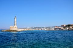 Chania lighthouse and harbour, Crete. Stock Photos