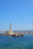 Chania lighthouse and harbour, Crete. Royalty Free Stock Images