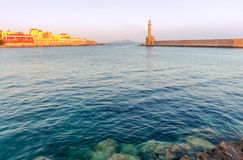 Chania. Lighthouse in the old harbor. Royalty Free Stock Image