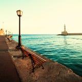 Chania lighthouse and promenade Stock Photo