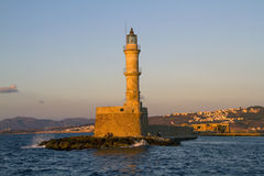Chania lighthouse at sunset Stock Images