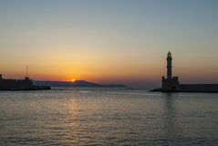 Chania lighthouse sunset Royalty Free Stock Image