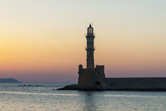 Chania lighthouse in sunset Royalty Free Stock Photo