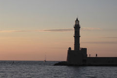 Chania lighthouse at the sunset Royalty Free Stock Images