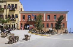 Chania - 21 mai - vieille ville. Vue de la MU maritime Photographie stock libre de droits