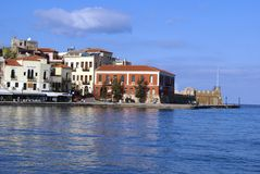 Chania old harbor or port waterfront in Crete, Greece Royalty Free Stock Image