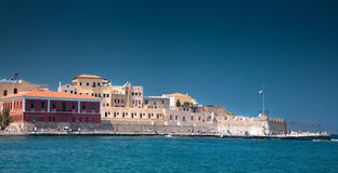 Chania old harbour panorama royalty free stock image