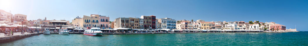 Chania old harbour panorama stock photos