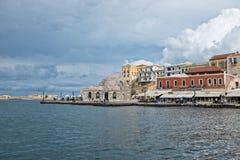 Chania, parte anteriore del porto Fotografia Stock Libera da Diritti