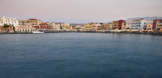 Chania port with antique venetians buildings. Crete. Horizontal Royalty Free Stock Image