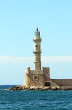 Chania port lighthouse Stock Photos