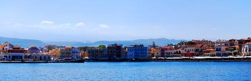 Chania port panorama Royalty Free Stock Image