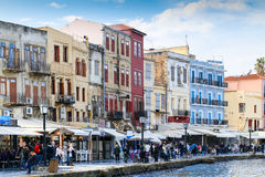 Chania promenade. Chania, Greece - October 28, 2014: Part of the waterside promenade at the Venetian harbor in Chania with restaurants, hotels and bars and Royalty Free Stock Image