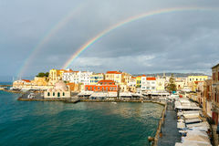 Chania. Rainbow over the old harbor. Stock Photography