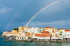 Chania. Rainbow over the old harbor. Royalty Free Stock Photo
