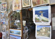 Chania, september 1st: Souvenir Paintings Shop from Downtown of Chania in Crete Island of Greece. Souvenir Paintings Shop from Downtown of Chania of Crete island vector illustration