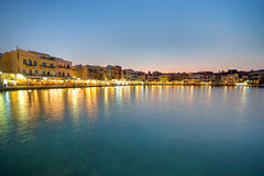 Chania after sunset Royalty Free Stock Photo