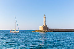 Chania town (Crete in Greece), light house Stock Images
