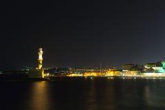 Chania town (Crete,Greece), light house, night Royalty Free Stock Photo