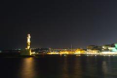 Chania town (Crete,Greece), light house, night Royalty Free Stock Photos