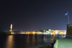 Chania town (Crete,Greece), light house, night Royalty Free Stock Photography