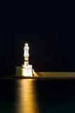 Chania town (Crete,Greece), light house ,night Stock Image