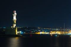 Chania town (Crete), light house at night Stock Photo