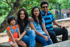 Channa Perera and Gayathri Dias family Royalty Free Stock Image