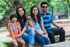 Channa Perera and Gayathri Dias family Royalty Free Stock Photography