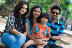 Channa Perera and Gayathri Dias family Royalty Free Stock Images
