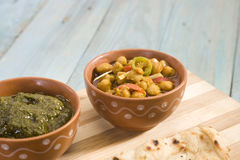 Channa and Saag. With Prantha royalty free stock images