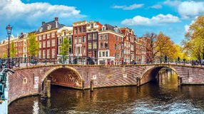 Channel in Amsterdam Netherlands houses river Amstel Royalty Free Stock Photography