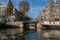 A channel is in Amsterdam Royalty Free Stock Photography