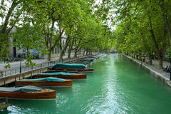 Channel in Annecy. Channel with boats in Annecy, France Stock Image