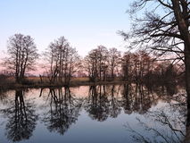 Channel with beautiful trees reflection, Lithuanian landscape Stock Images
