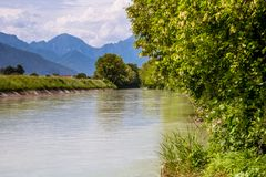 River canal between vineyards, Prosecco region Royalty Free Stock Images