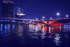 Asakusa  District of TOKYO. Channel   and bridge  Buildings.   NIGHT Cityscape! JApan Royalty Free Stock Photo