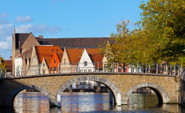 Channel in Bruges, Belgium Stock Photography