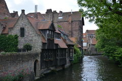 Channel of Brugge. Channel in the center of Brugge, Belgium, surrounded by old buldings Stock Images