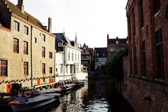 Channel in Brugges. Belgium at spring Stock Images
