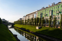 Channel with Bulak River in the center of Kazan, Russia Royalty Free Stock Photos
