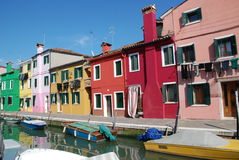 Channel in Burano island near Venice Royalty Free Stock Photos