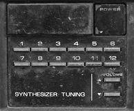Channel buttons on old television in monochrome Stock Image