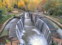 channel of Castile. Locks of the canal of Castile in Spain palencia Royalty Free Stock Photography
